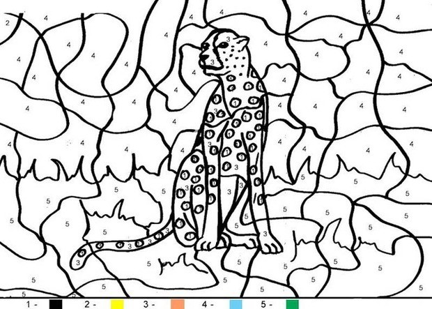 animal color by number coloring pages tiger
