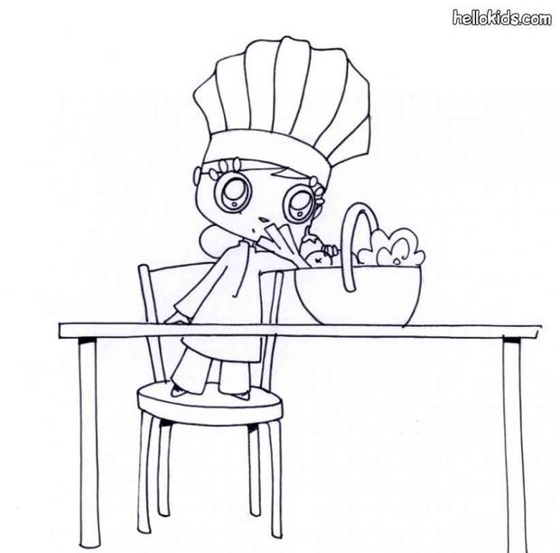 girl wearing a chef's hat coloring pages  hellokids