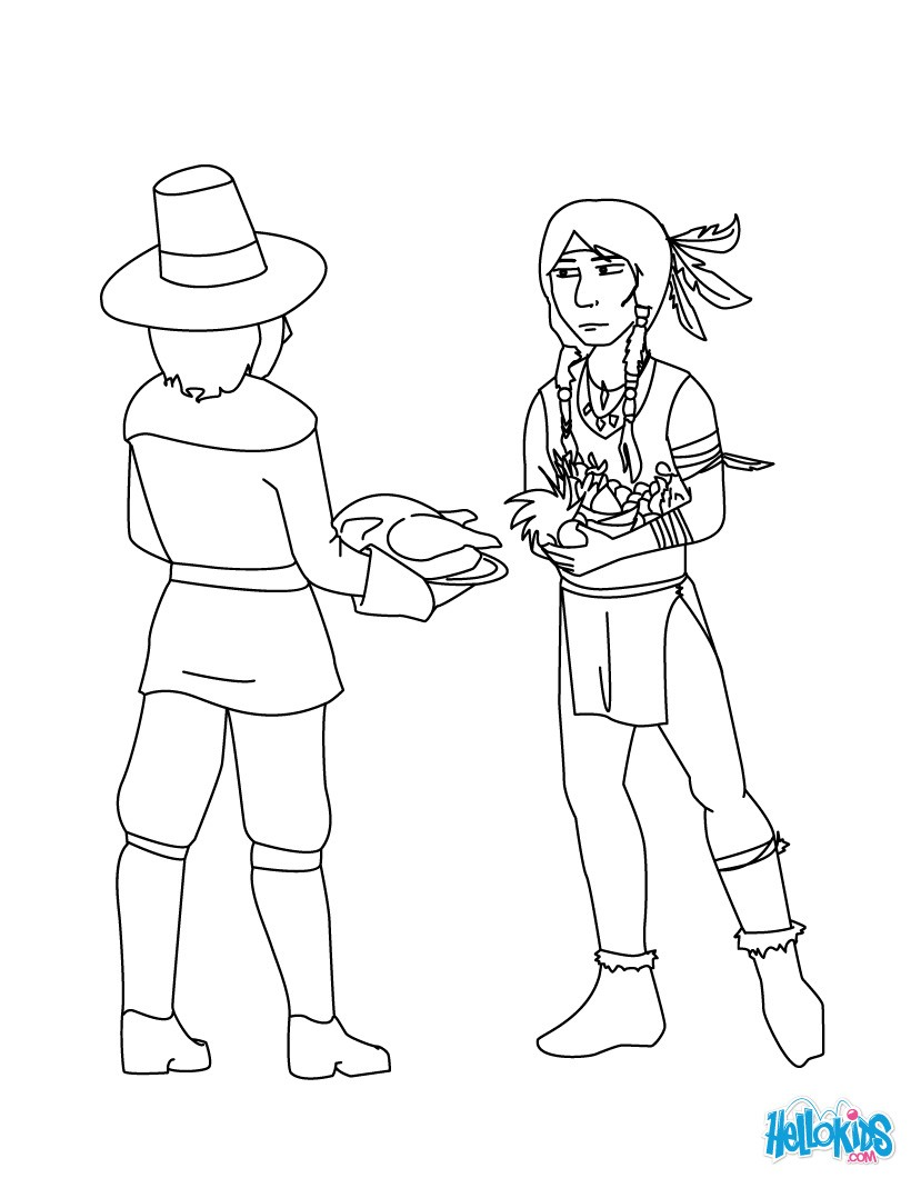 thanksgiving coloring pages pilgrim and native american