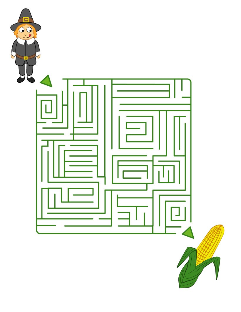 thanksgiving printable mazes pilgrim scouts for corn cobs