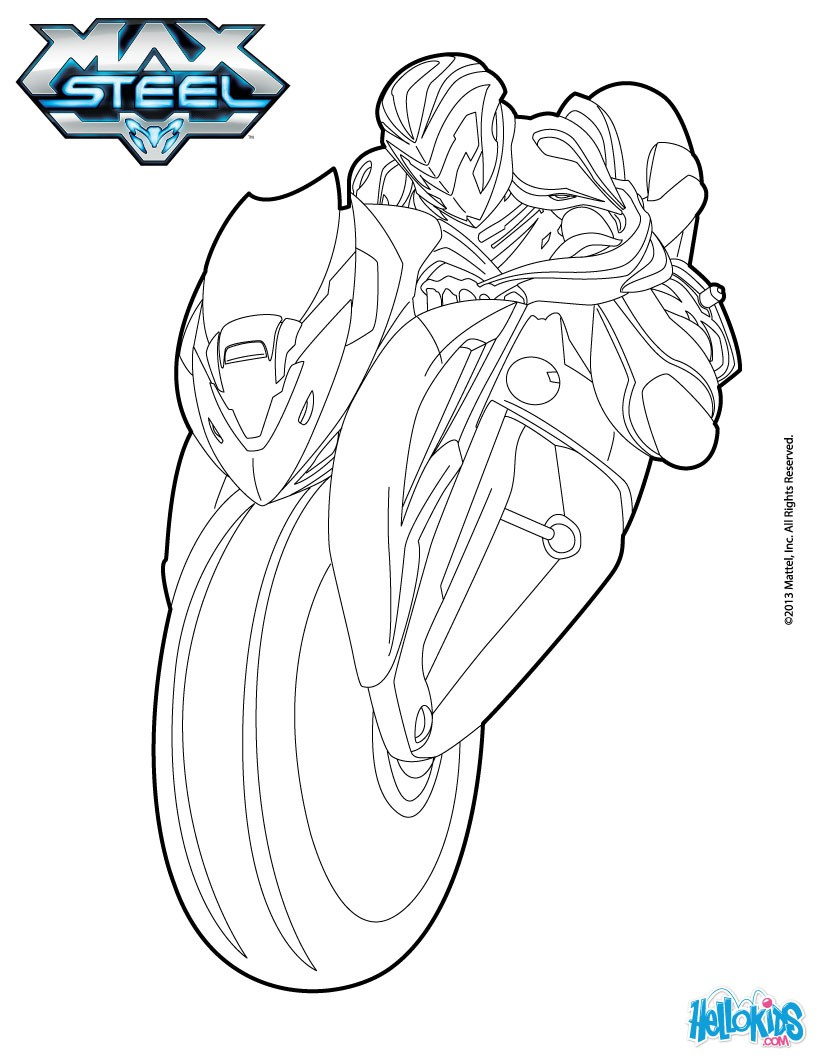max steel coloring pages max steel on his motorcycle