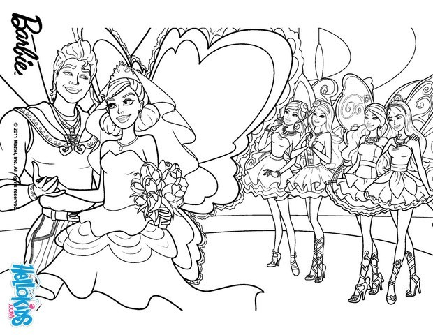 girls coloring pages barbie and ken wedding | Barbie coloring ... | 480x620