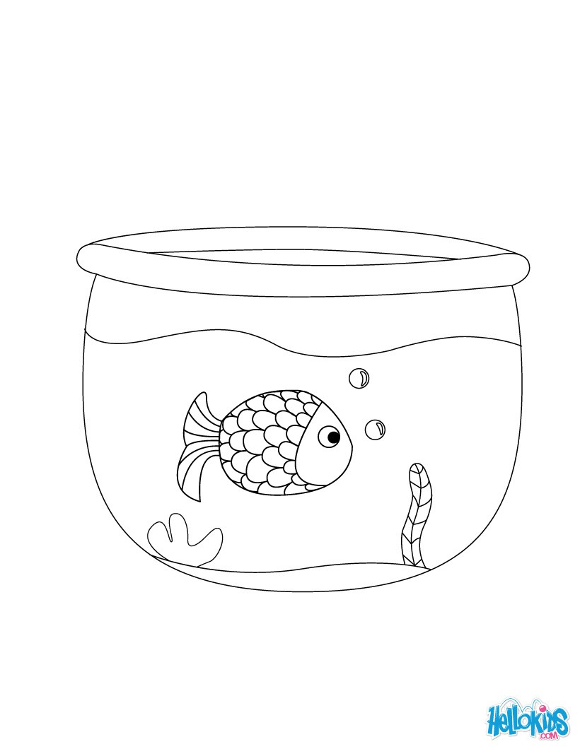 fish bowl coloring page like a fish in a bowl coloring