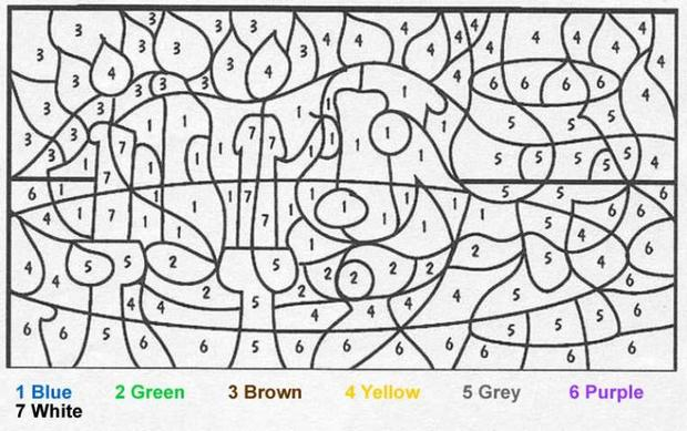 animal color by number coloring pages dog