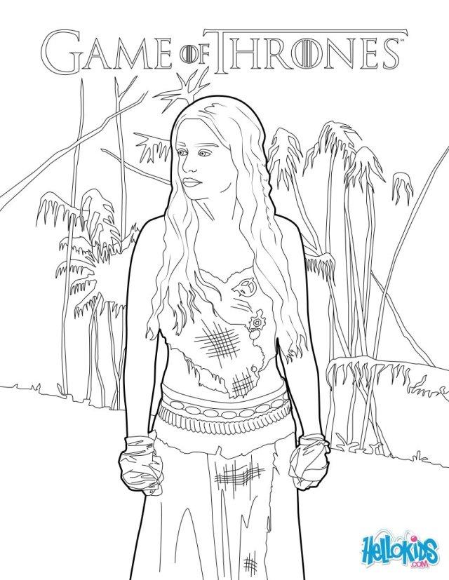 Game of thrones : princess daenerys targaryen coloring pages