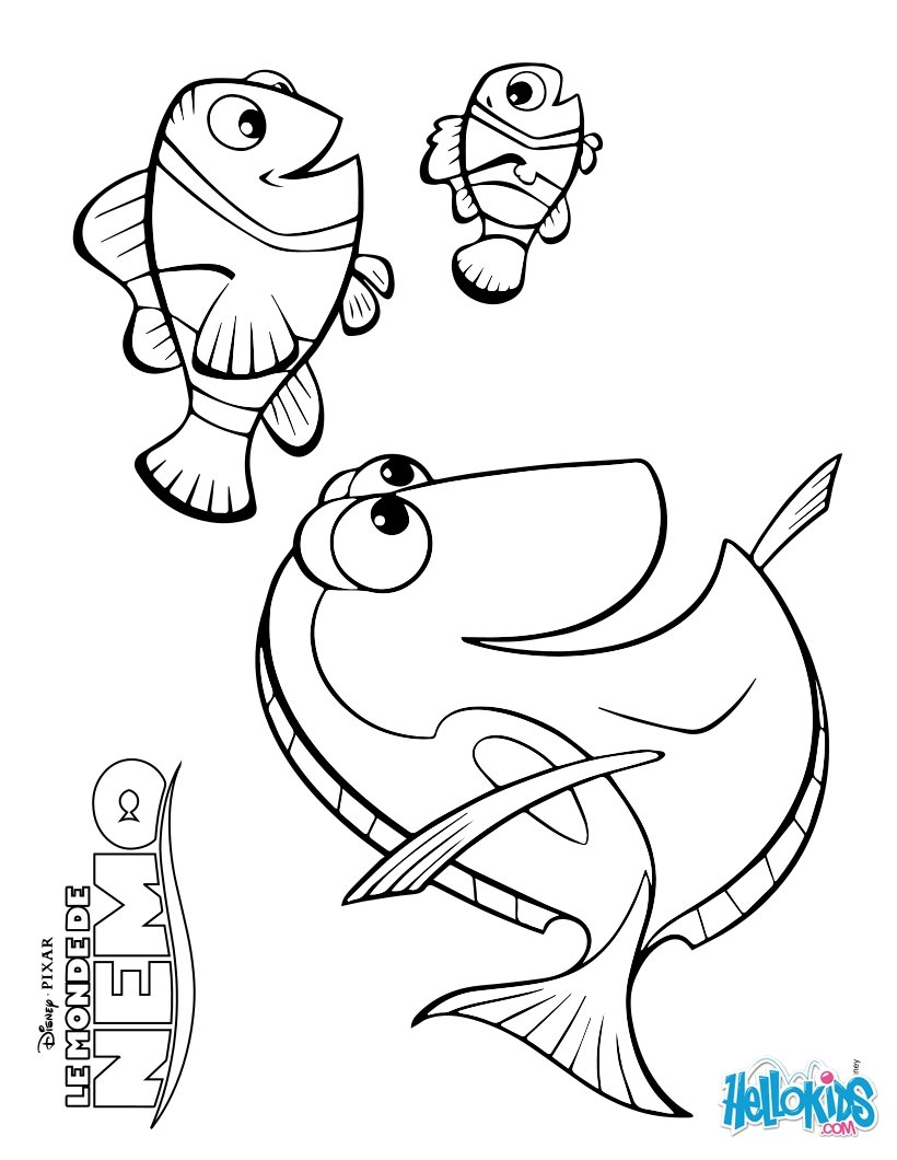 disney coloring pages marlin dory and nemo