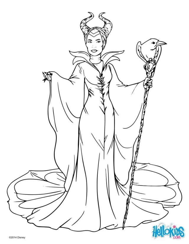 Maleficent with cane coloring pages - Hellokids.com