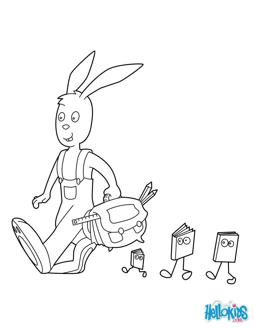 school coloring pages rabbit going to school