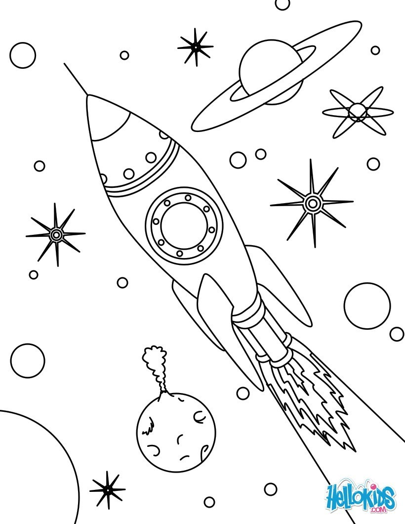 space coloring pages alien in spaceship