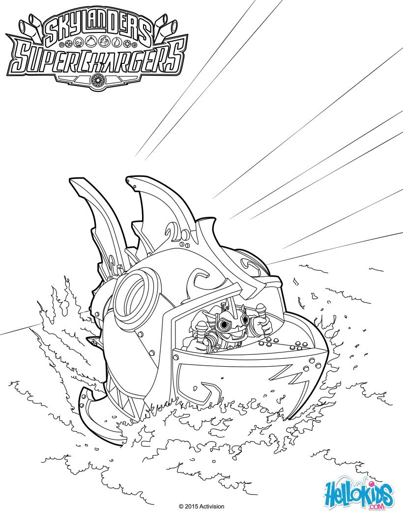 skylanders superchargers coloring pages reef ripper submarine