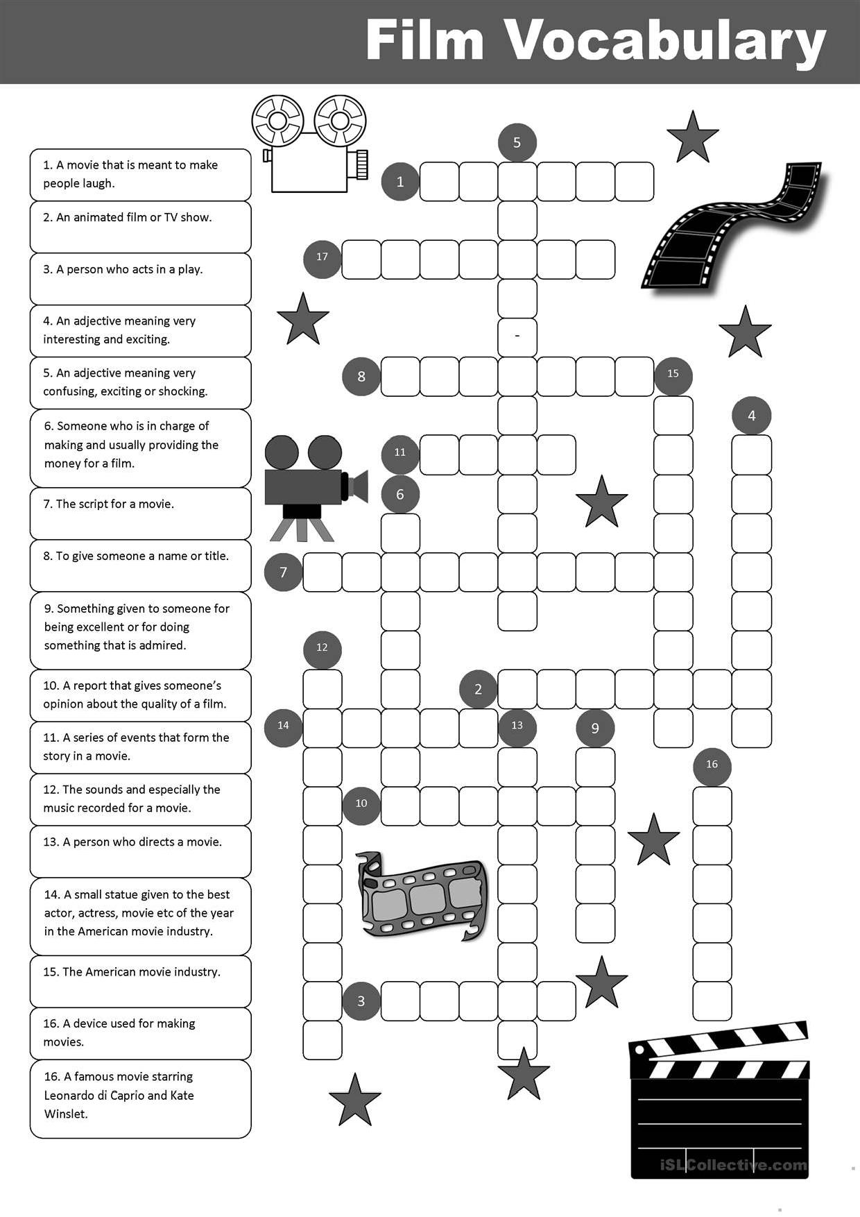 Film Vocabulary Crossword Stories To Read