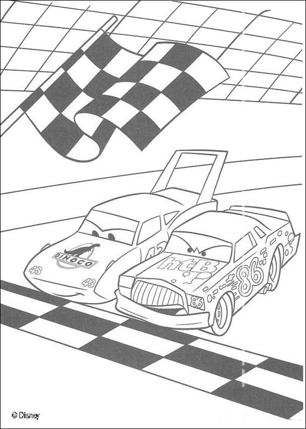 cars coloring pages racing between chick hicks and the king