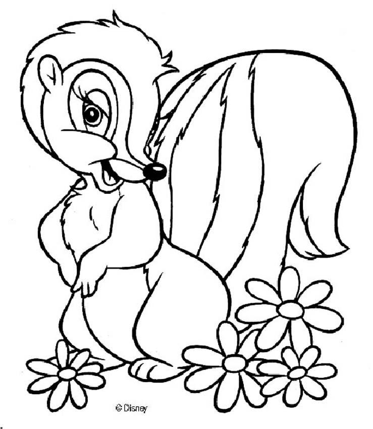 bambi coloring pages flower 6
