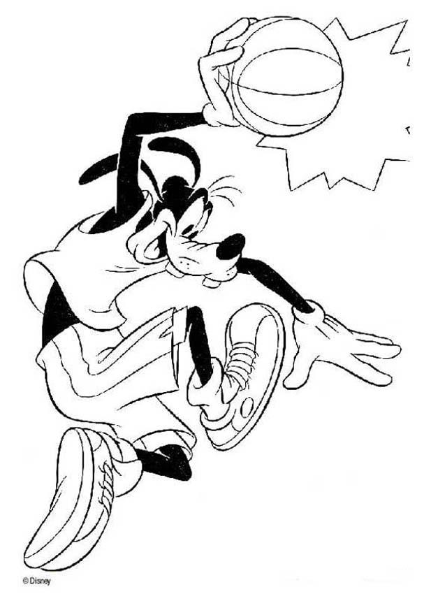 goofy coloring book pages goofy playing basketball
