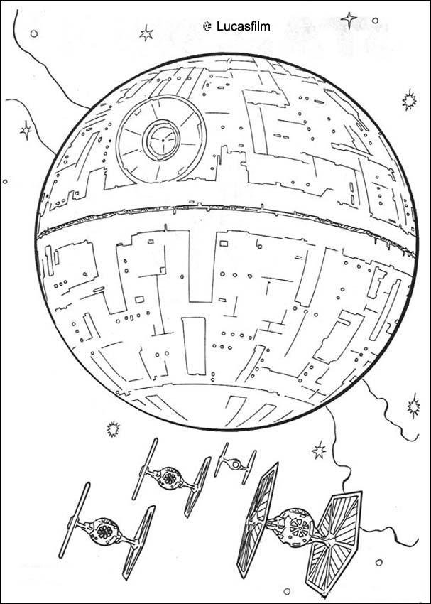 star wars coloring pages death star and the fighters
