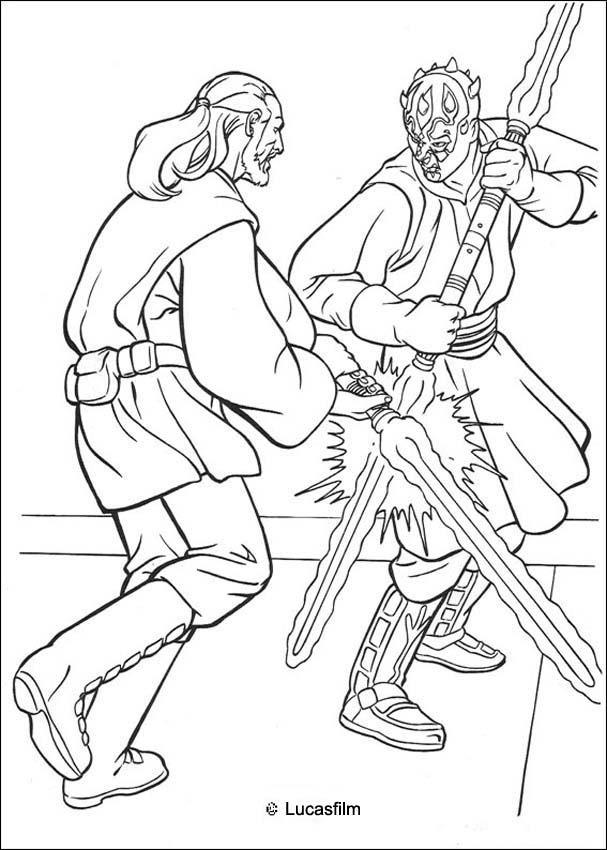 star wars coloring pages jedi knight qui gon jinn fighting a duel