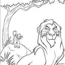 the lion king coloring pages scar scares simba
