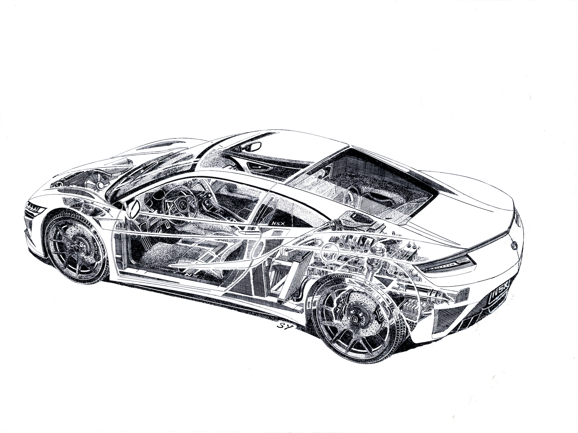Flipboard Cutaway Sketch Of Acura Nsx Shows Inner Workings