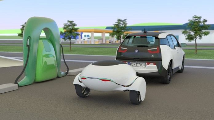 ebuggy electric car trailer boosts range300 miles, looks a bit silly