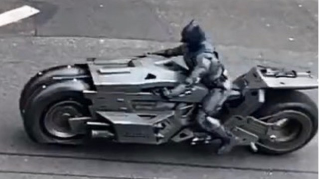 Batcycle on the set of