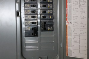 Image: Circuitbreaker box showing 240Volt circuit for
