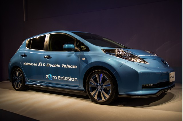 Nissan Leaf 'Advanced R&D Electric Vehicle' shown at company annual meeting, Yokohama, Jun 2015