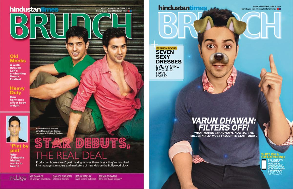 Varun Dhawan's previous HT Brunch covers in 2012 (left) and 2017 (right)