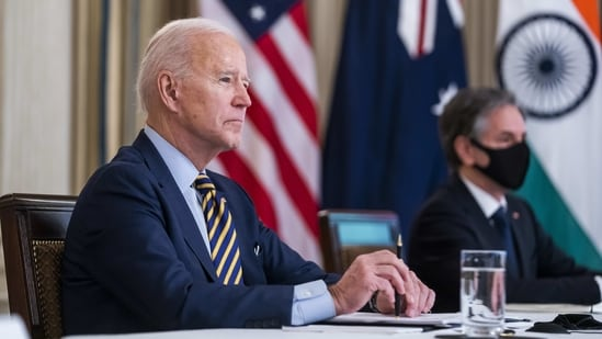 U.S. President Joe Biden listens during a virtual Quadrilateral Security Dialogue (Quad) meeting on Friday.(Bloomberg)
