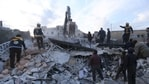 FILE - In this January 15, 2020 file photo, emergency services are visible for survivors after an airstrike in the city of Idlib, Syria. (AP Photo / Git Alsaid, File)
