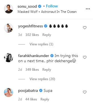 Comments on the picture(Instagram/ sonu_sood)