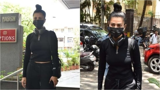 Shruti Haasan was recently spotted outside a clinic in Santa Cruz, Mumbai and the actor opted to wear an all-black look for her day out.(Varinder Chawla)