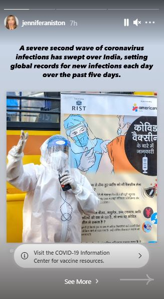 """Her first story read, """"A severe second wave of coronavirus infections has swept over India..."""""""