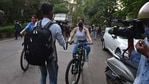 Janhvi Kapoor and her sister Khushi Kapoor stepped out with their cycles in Mumbai. (Varinder Chawla)