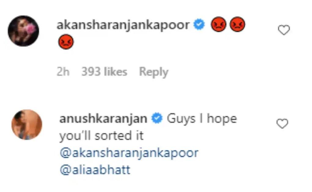 Akansha and Anushka Ranjan's comments on Alia Bhatt's latest Instagram post.