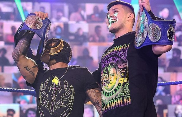 Rey Mysterio is currently the Smackdown Tag Team Champions with his son Dominik.  (Photo: Instagram / 619iamlucha)