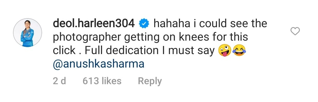 Cricketer Harleen Deol's comment.