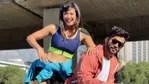 Shweta Tiwari poses with Rahul Vaidya in Cape Town.