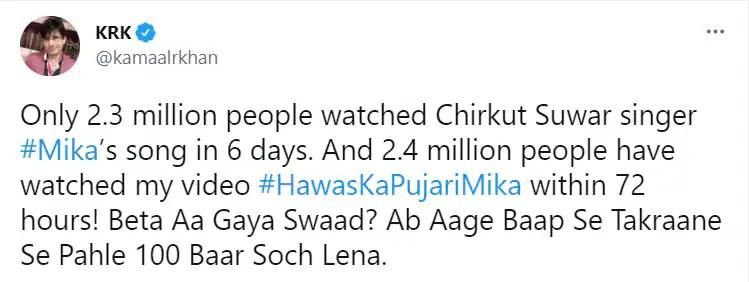 KRK clapped back at Mika Singh in a new tweet.
