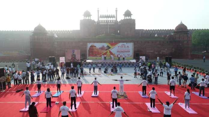 Around 20 people performed yoga at Red Fort in Delhi as a part of Azadi Ka Amrit Mahotsav and to mark the 7th International Day of Yoga.