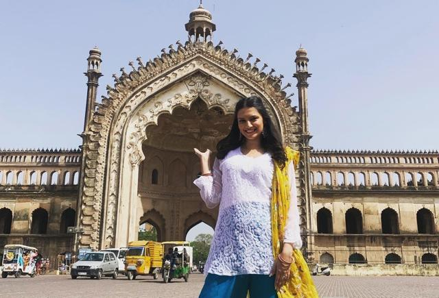 Lekha in front of majestic Rumi Dawaza during her visit to Lucknow. (Sourced)