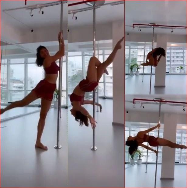 Jacqueline Fernandez practices pole dancing.