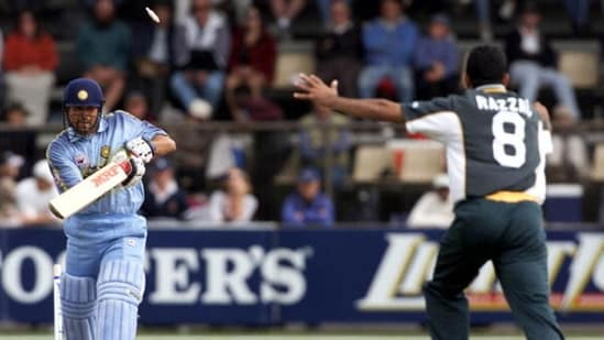 Sachin Tendulkar of India is bowled by Abdul Razzaq of Pakistan for 93 in an ODI in Hobart. (Getty Images)