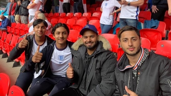 Rishabh Pant with his friends at Euro 2020 game at London's Wembley Stadium. (Rishabh Pant/Twitter)