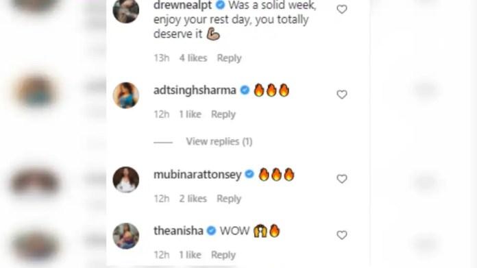 Screenshot of comments on Shibani's post