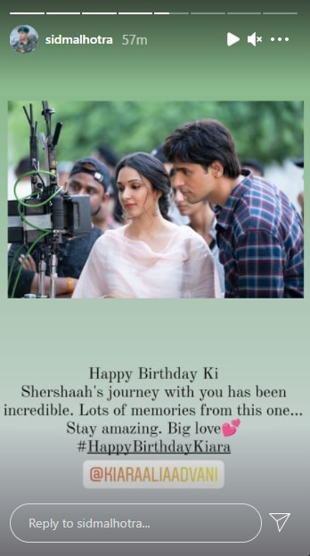 Sidharth Malhotra wishes Kiara Advani on her birthday.
