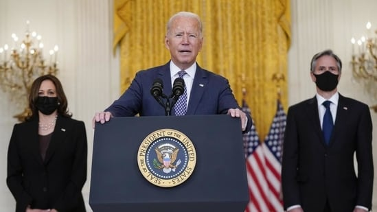 President Joe Biden speaks about the evacuation of American citizens, their families, SIV applicants and vulnerable Afghans in the East Room of the White House in Washington, on Friday. (AP)