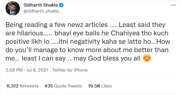 Sidharth had tweeted in what seemed to be a reaction to rumours of his breakup with Shehnaaz.