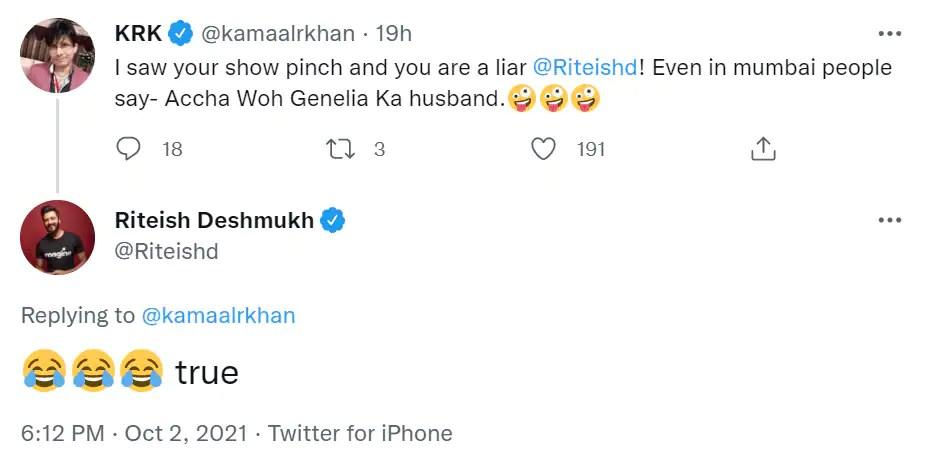 Riteish Deshmukh replied to KRK's tweet.