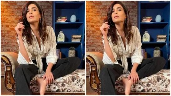 Styled by celebrity stylist Shrushti Gupta, Karishma accessorised her casual attire with statement silver statement earrings.(Instagram/@karishmaktanna)