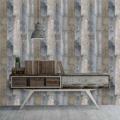 Peel   Stick   Wood   Wallpaper   Decor   The Home Depot Multicolored Repurposed Wood Wallpaper